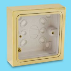 Varilight Single Patress Wall Box (for surface mounting) Bright Brass Finish YBSB